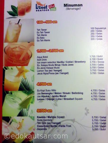Daftar Menu Minuman