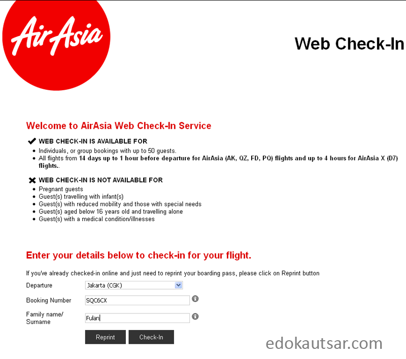 Web check in AirAsia Indonesia