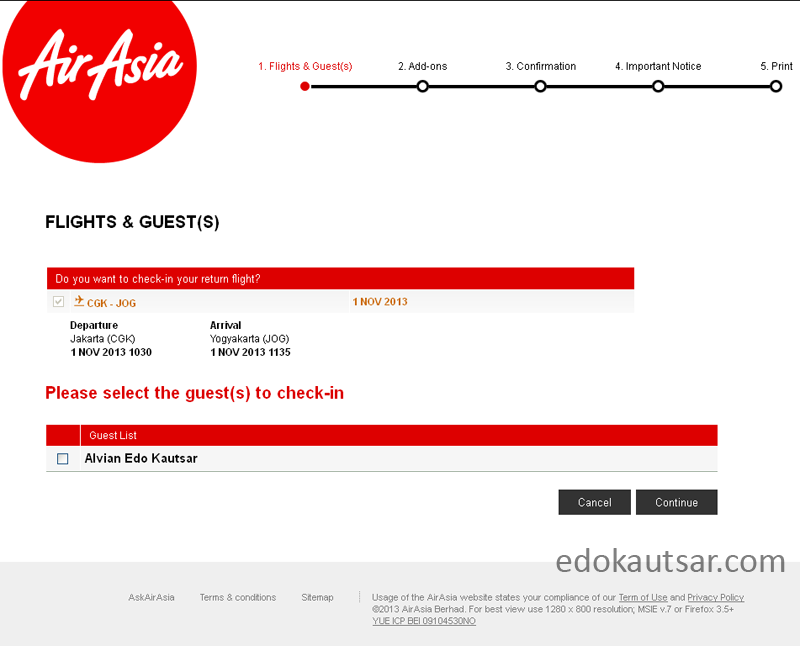 Web check in AirAsia cara