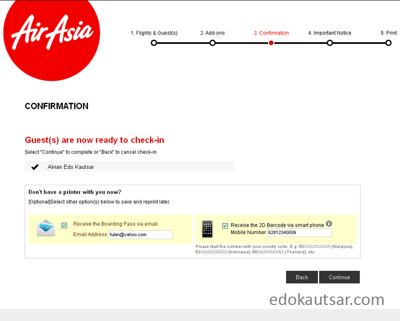 Cara web check in AirAsia