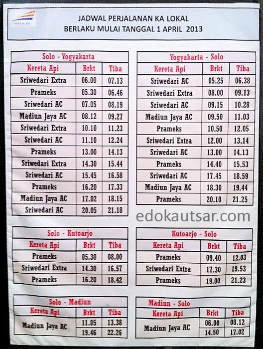 Jadwal Kereta Api Prameks, Sri Wedari, Madiun Jaya dari Solo Balapan